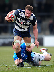 Bristol Lock (#5) Roy Winters is tackled by Leinster 'A's replacement (#20) John Cooney Noel Reid - Photo mandatory by-line: Dougie Allward/JMP - Tel: Mobile: 07966 386802 07/04/2013 - SPORT - RUGBY - Memorial Stadium - Bristol. Bristol v Leinster A - B&I Cup.