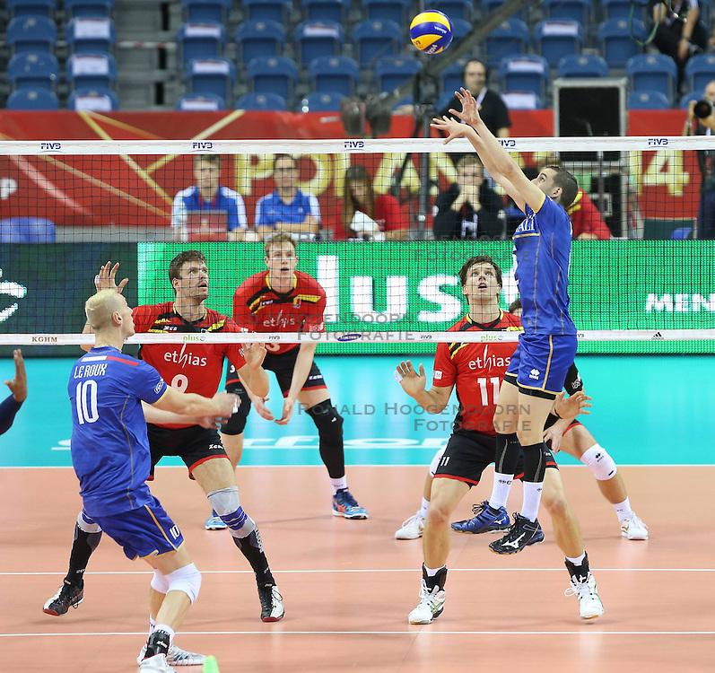 07.09.2014, Krakow Arena, Krakau, POL, FIVB WM, Frankreich vs Belgien, Gruppe D, im Bild KEVIN LE ROUX (L) // during the FIVB Volleyball Men's World Championships Pool D Match beween France and Belgium at the Krakow Arena in Krakau, Poland on 2014/09/07.<br /> <br /> ***NETHERLANDS ONLY***