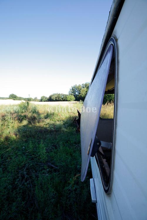 camping car in rural setting