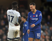 Football - 2018 / 2019 Premier League - Chelsea vs. Everton<br /> <br /> Eden Hazard of Chelsea finds time to have a joke with Gana Gueye of Everton, at Stamford Bridge.<br /> <br /> COLORSPORT/ANDREW COWIE