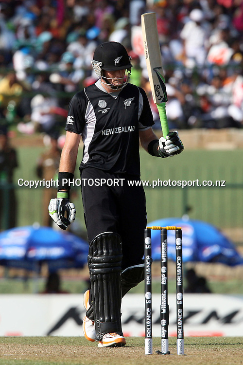 Martin Guptil celebrates his half century. ICC Cricket World Cup. New Zealand vs Paksitan. Pallekele Cricket Stadium, Kandy, Sri Lanka. Tuesday 8 March 2011. Photo: photosport.co.nz
