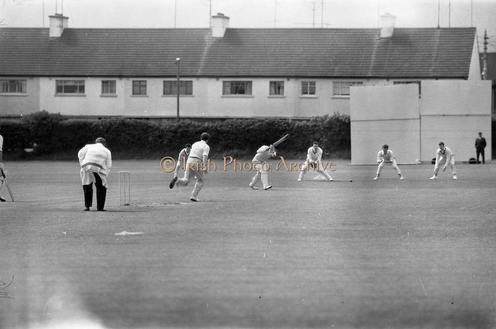 22/05/1964<br /> 05/22/1964<br /> 22 May 1964<br /> Interprovincial Cricket : Leinster v Munster at Old Belvedere Ground, Dublin. J.R. West (Munster) hits this ball for a single.