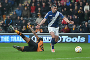 Paul Robinson of Birmingham city  brings Hull City striker Chuba Akpom down during the Sky Bet Championship match between Hull City and Birmingham City at the KC Stadium, Kingston upon Hull, England on 24 October 2015. Photo by Ian Lyall.