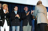Friidrett / Athletics<br /> ExxonMobil Bislett Games 2005<br /> 29.07.2005<br /> Foto: Morten Olsen, Digitalsport<br /> <br /> Pre-competition dinner<br /> <br /> Famous Bislett Stars of the past. (L-R): Ingrid Kristiansen, Grete Waitz, Roger Moens and Lamine Diack