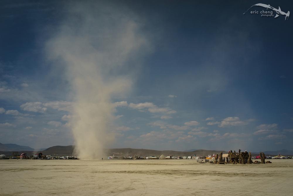 Dust devil at Burning Man 2014