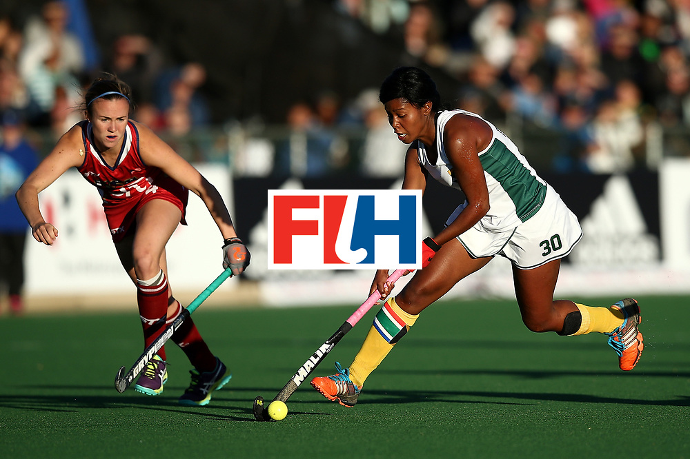 JOHANNESBURG, SOUTH AFRICA - JULY 16:  Suzette Damons of South Africa controls the ball during day 5 of the FIH Hockey World League Women's Semi Finals Pool B match between South Africa and United States of America at Wits University on July 16, 2017 in Johannesburg, South Africa.  (Photo by Jan Kruger/Getty Images for FIH)