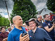27 MAY 2019 - URBANDALE, IOWA: US Senator CORY BOOKER (D-NJ) walks through the crowd at a Memorial Day barbecue he hosted at his Iowa campaign headquarters. Sen. Booker is running to be the Democratic nominee for the US Presidency. Iowa traditionally hosts the the first selection event of the presidential election cycle. The Iowa Caucuses will be on Feb. 3, 2020.      PHOTO BY JACK KURTZ