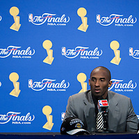 11 June 2009: Kobe Bryant of the Los Angeles Lakers is seen during the press conference after game 4 of the 2009 NBA Finals won 99-91 by the Los Angeles Lakers over the Orlando Magic at Amway Arena, in Orlando, Florida, USA.