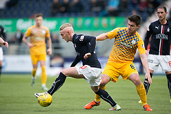 Falkirk's Craig Sibbald and Morton's Ross Forbes. half time ; Falkirk 0 v 0 Morton, Scottish Championship game played 18/3/2017 at The Falkirk Stadium.