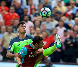 LONDON, ENGLAND - Sunday, May 14, 2017: Liverpool's Dejan Lovren in action against West Ham United during the FA Premier League match at the London Stadium. (Pic by David Rawcliffe/Propaganda)