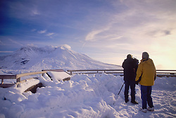 News Crew at Johnston Ridge Overlooking Mt. St. Helens, Mt. St. Helens National Volcanic Monument, Washington, US