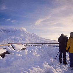 News Crew at Johnston Ridge Overlooking Mt. St. Helens, Mt. St. Helens National Volcanic Monument, Washington, US