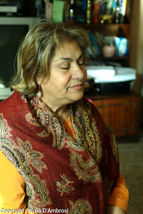 Sali Ibrahim, renowned Roma poetess in her home in the Roma ghetto, Fakulteta Mahala, in Sofia, Bulgaria. Sali has created a literary centre out of her home and she teaches poetry to young Roma and Bulgarian women.