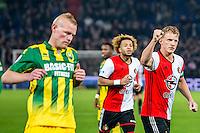 ROTTERDAM - Feyenoord - ADO Den Haag , Voetbal , KNVB Beker , Seizoen 2016/2017 , De Kuip , 14-12-2016 , Feyenoord speler Dirk Kuyt (r) viert zijn penalty goal met Feyenoord speler Tonny Vilhena (m) terwijl ADO Den Haag speler Tom Beugelsdijk (l) baalt