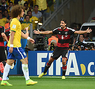 Sami Khedira of Germany celebrates scoring their fifth goal during the 2014 FIFA World Cup match at Mineir&atilde;o, Belo Horizonte<br /> Picture by Stefano Gnech/Focus Images Ltd +39 333 1641678<br /> 08/07/2014
