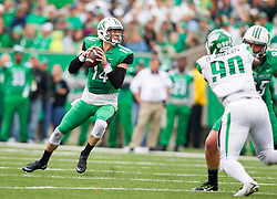 Oct 24, 2015; Huntington, WV, USA; Marshall Thundering Herd quarterback Chase Litton drops back for a pass against the North Texas Mean Green during the first quarter at Joan C. Edwards Stadium. Mandatory Credit: Ben Queen-USA TODAY Sports