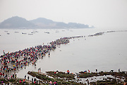 "View from a hill top to the open ""Mysterious Sea Road"" at Hoedong shore (Jindo island). Jindo is the 3rd biggest island in South Korea located in the South-West end of the country and famous for the ""Mysterious Sea Route"" or ""Moses Miracle"". Every spring thousands flock to the shores of Jindo to walk the mysterious route that stretches roughly three kilometers from Hoedong to the distant island of Modo. Materializing from the rise and fall of the tides, the divide can reach as wide as forty meters."