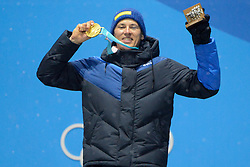 February 22, 2018 - Pyeongchang, South Korea - ANDRE MYHRER of Sweeden celebrates getting the gold medal in the Men's Slalom ski racing event in the PyeongChang Olympic Games. (Credit Image: © Christopher Levy via ZUMA Wire)
