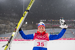 February 13, 2018 - Pyeongchang, SOUTH KOREA - 180212 Maren Lundby of Norway celebrates after winning gold in Ski Jumping, Women's Normal Hill Individual Final, during day three of the 2018 Winter Olympics on February 12, 2018 in Pyeongchang..Photo: Joel Marklund / BILDBYRÃ…N / kod JM / 87619 (Credit Image: © Joel Marklund/Bildbyran via ZUMA Press)