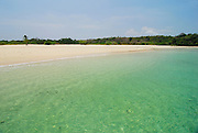 Tropical beach with clear waters white sands and forest in Chapera island. Las Perlas archipelago, Panama province, Panama, Central America.