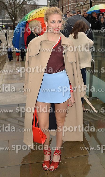 Pixie Lott arriving at the Topshop Unique catwalk show A/W 2015, at The Topshop Show Space, Tate Britain in London, England during London Fashion Week. 22nd February 2015. Photo by James Warren/Photoshot. EXPA Pictures &copy; 2015, PhotoCredit: EXPA/ Photoshot/ James Warren<br /> <br /> *****ATTENTION - for AUT, SLO, CRO, SRB, BIH, MAZ only*****