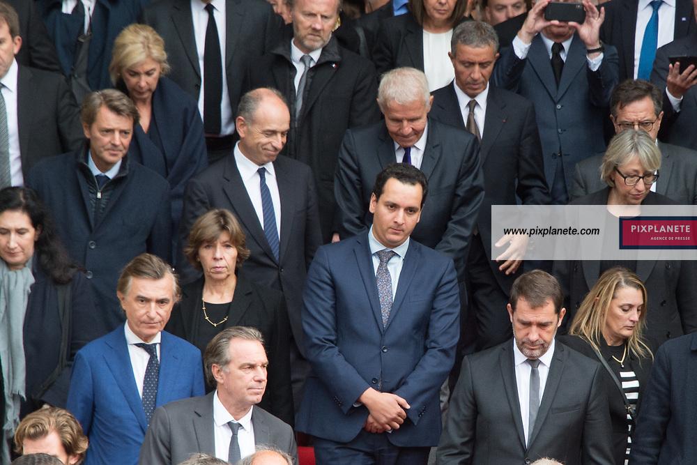 Sortie des invités dont François Baroin et Patrick Poivre d'Arvor _Jean François Copé Obsèques de Jacques Chirac Lundi 30 Septembre 2019 église Saint Sulpice Paris