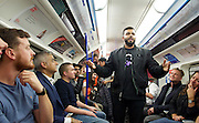 Sadia Khan at London's Night Tube launch at Brixton tube station, London, Great Britain <br /> 19th August 2016 <br /> <br /> Hussain Manawer the  poet who wrote The Night Tube, describes how this service helps Londoners from all walks of life talks to the mayor <br /> <br /> Sadia Khan, mayor of London,  launched the first night tube service and travelled on a tube train between Brixton and Walthamstow on the Victoria Line. <br />  <br /> He launched the first 24 hour Friday and Saturday night services on the Central and Victoria lines <br /> <br /> Photograph by Elliott Franks <br /> Image licensed to Elliott Franks Photography Services
