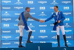 BEERBAUM, Ludger (GER), AHLMANN, Christian (GER)<br /> Berlin - Global Jumping Berlin 2019<br /> Siegerehrung<br /> CSI5* - LONGINES GLOBAL CHAMPIONS TOUR Grand Prix of Berlin<br /> presented by TENNOR<br /> Wertungsprüfung zur Longines Global Champions Tour 2019 <br /> Springprüfung mit Stechen, international<br /> 27. Juli 2019<br /> © www.sportfotos-lafrentz.de/Stefan Lafrentz