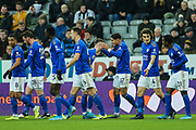 Ayoze Perez (#17) of Leicester City celebrates Leicester City's first goal (0-1) with Leicester City team mates during the Premier League match between Newcastle United and Leicester City at St. James's Park, Newcastle, England on 1 January 2020.