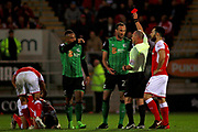 Red card for Scunthorpe United's Rory McArdle (23) during the EFL Sky Bet League 1 play off second leg match between Rotherham United and Scunthorpe United at the AESSEAL New York Stadium, Rotherham, England on 16 May 2018. Picture by Nigel Cole.