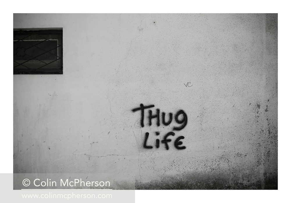 'Thug life, 2013', from 'The Recession Will Not Be Televised' by Colin McPherson, a body of photographic work which looks at the visual representation of the ongoing economic crisis in Porto, Portugal.<br /> <br /> Colin McPherson is a photographer and visual artist born in Scotland in 1964. He works internationally on assignments, commissions and projects. He lives in the north west of England.