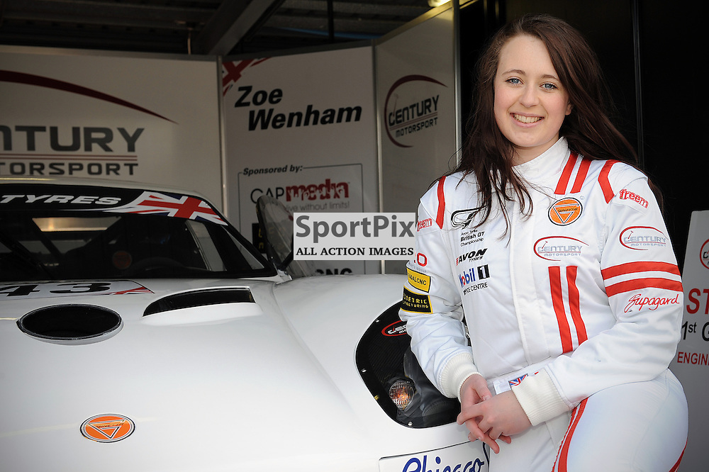 A relaxed Zoe Wenham- Century Motorsport, during qualifying and practice at the first round of the Avon Tyres British GT Championship held at Oulton Park, Cheshire, UK. 29th March 2013 WAYNE NEAL | STOCKPIX.EU