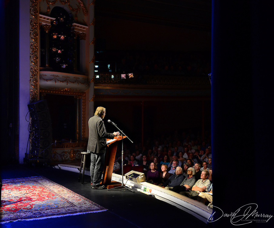 Author Bill Bryson speaks during a Writers on a New England Stage show at The Music Hall in Portsmouth, NH