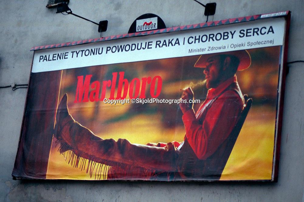Giant Marlboro cigarette billboard on the passage Schillera.  Lodz Poland