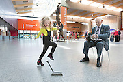 **NO REPRO FEE** 26042016 Fleadh Cheoil na hÉireann Inis 2016 lifts off as Shannon Airport comes on board as main sponsor. At the announcement were Emilie Keane (aged 5) performing a brush dance to the music of renouned concertina player Chris Droney. Photograph by Eamon Ward (Further information available from Eugene Hogan 0872497290 eugene.hogan@bridgepr.ie)