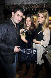 Left to right, ZAFAR RUSHDIE, KELLY EASTWOOD and                at a party to celebrate the opening of Barts, Sloane Ave, London on 26th February 2009.