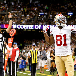 Nov 17, 2013; New Orleans, LA, USA; San Francisco 49ers wide receiver Anquan Boldin (81) celebrates a touchdown against the New Orleans Saints during the second quarter of a game at Mercedes-Benz Superdome. Mandatory Credit: Derick E. Hingle-USA TODAY Sports