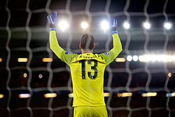 LIVERPOOL, ENGLAND - Tuesday, December 11, 2018: Liverpool's goalkeeper Alisson Becker prays before the UEFA Champions League Group C match between Liverpool FC and SSC Napoli at Anfield. (Pic by David Rawcliffe/Propaganda)