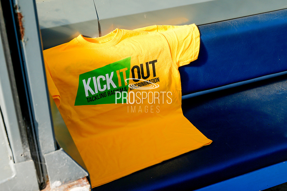 Kick it out, as Leeds United support the campaign during the EFL Sky Bet Championship match between Leeds United and Derby County at Elland Road, Leeds, England on 21 September 2019.