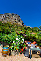 Terrace of restaurant at Haute Cabriere Vineyard Estate, Franschhoek Pass, Franschhoek, Cape Winelands, South Africa.