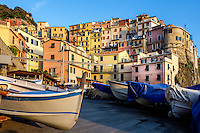 MANAROLA, ITALY - CIRCA MAY 2015:  Boats in the port Manarola  in Cinque Terre, Italy.