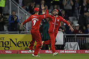 Lancashires Arron Lilley congratulated by Lancashires Liam Livingstone (Capt) for his fine catch during the Vitality T20 Blast North Group match between Lancashire County Cricket Club and Yorkshire County Cricket Club at the Emirates, Old Trafford, Manchester, United Kingdom on 20 July 2018. Picture by George Franks.