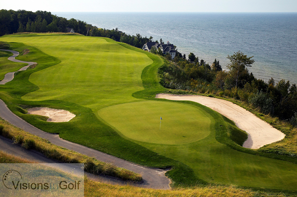 040911 Petoskey Michigan USA / Photo Christer Hˆglund / The first hole at the Links golfcourse at Bay Harbor golf club, owned by Boyne USA Resorts. It is a nine hole course overlooking Lake Michigan and Little Traverse Bay. The course is designed by Arthur Hills<br /> <br /> Photo Visions In Golf/Christer Hoglund