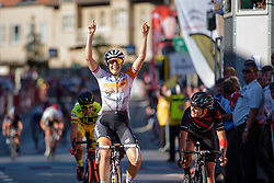 Lucinda Brand (Rabo Liv) wins the sprint finish ahead of Barbara Guarischi (CANYON//SRAM Racing) at the 121 km Stage 1 of the Lotto Belgium Tour 2016 on 7th September 2016 in Moorslede, Belgium. (Photo by Sean Robinson/Velofocus).