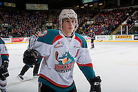 KELOWNA, CANADA - FEBRUARY 1: Lucas Johansen #7 of the Kelowna Rockets skates to the bench to high five teammates after scoring a goal against the Calgary Hitmen on February 1, 2017 at Prospera Place in Kelowna, British Columbia, Canada.  (Photo by Marissa Baecker/Shoot the Breeze)  *** Local Caption ***