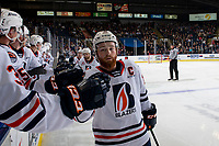 KELOWNA, BC - OCTOBER 12: Zane Franklin #16 of the Kamloops Blazers celebrates a goal with fist bumps at the bench against the Kelowna Rockets at Prospera Place on October 12, 2019 in Kelowna, Canada. (Photo by Marissa Baecker/Shoot the Breeze)