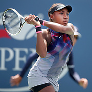 2017 U.S. Open Tennis Tournament - DAY FOURTEEN. Cori Gauff of the United States in action against Amanda Anisimova of the United States in the Junior Girls' Singles Final at the US Open Tennis Tournament at the USTA Billie Jean King National Tennis Center on September 10, 2017 in Flushing, Queens, New York City.  (Photo by Tim Clayton/Corbis via Getty Images)