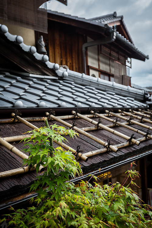 The rooftops of the old traditional houses in the Higashiyama district of Kyoto