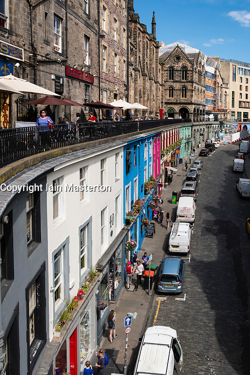 Looking down on shops on historic Victoria Street in the Old Town of Edinburgh , Scotland, United Kingdom
