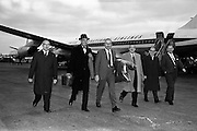 24/10/1962<br /> 10/24/1962<br /> 24 October 1962<br /> Mr John Bowles, President of Rexall Drugs, Los Angeles, arriving at Dublin Airport. (l-r): Mr Gerald (?) Vaughan, Rexall Overseas Incorporated, Brussels; Mr Bowles; Mr M. Richardson Managing Director Charnwood Laboratories, Loughborough, Leicestershire, England; Mr Eric Ridgeway, Director, Charnwood Laboratories, Loughborough, Leicestershire, England.